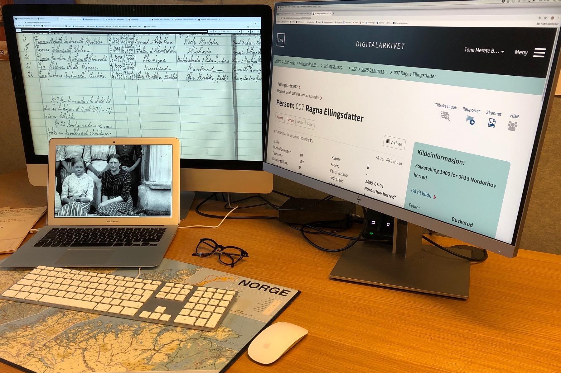 Viser tre skjermer, alle med sider fra Digitalarkivet. Skannet konfirmantliste, treff i 1900-folketellingen og bilde av Ragna Ellingsdatter