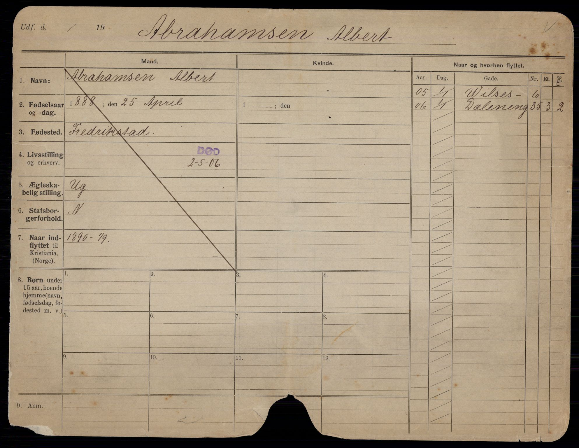 Registerkort for Albert Abrahamsen, død 2. mai 1906 i Kristiania (SAO, Oslo folkeregister, Registerkort, G/Gb/L0001: Menn, 1906).