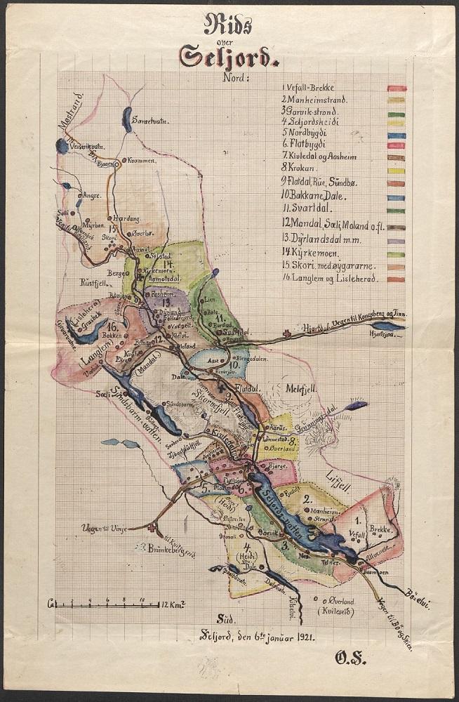Kart over folketellingen 1920 for Seljord
