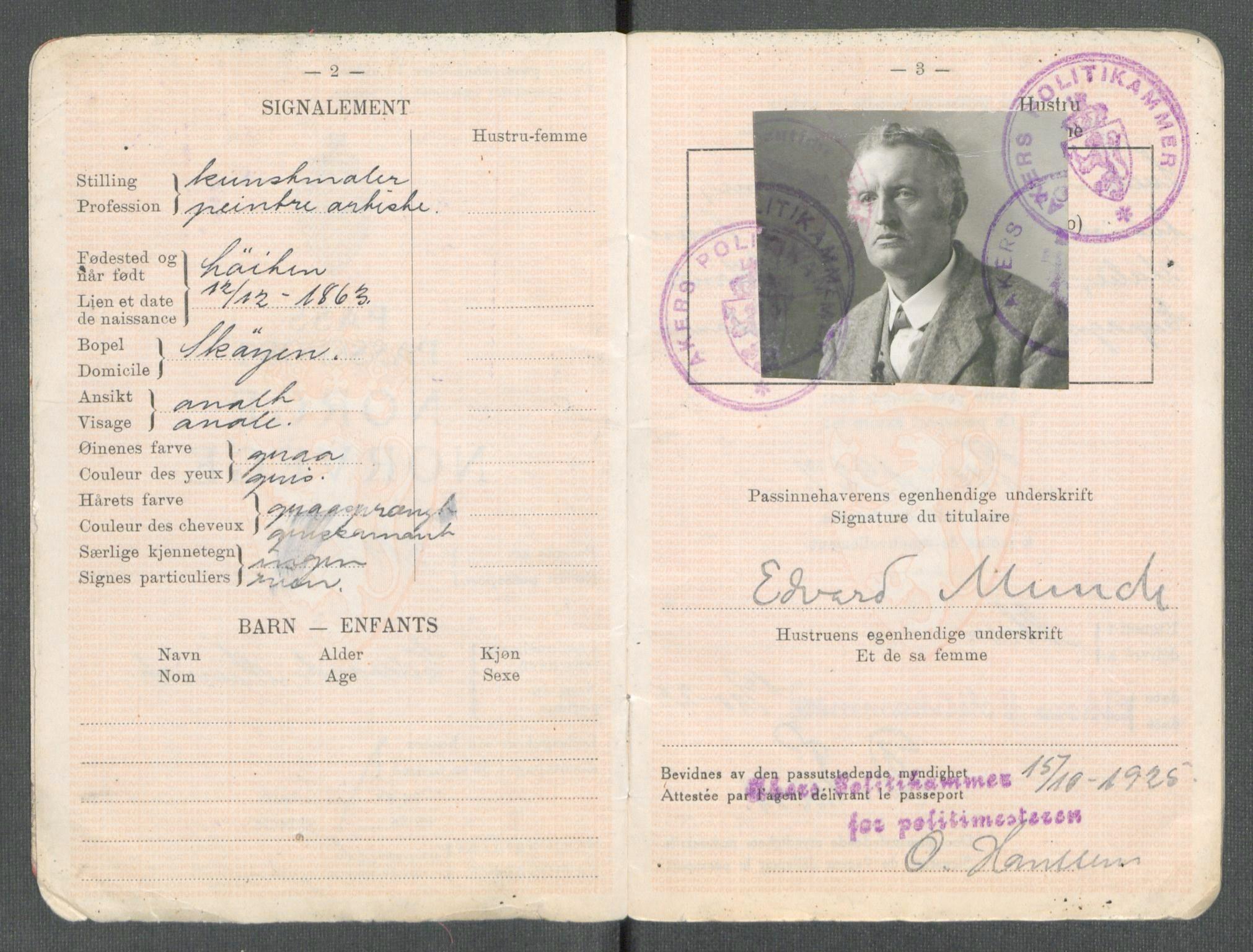 Edvard Munch sitt pass
