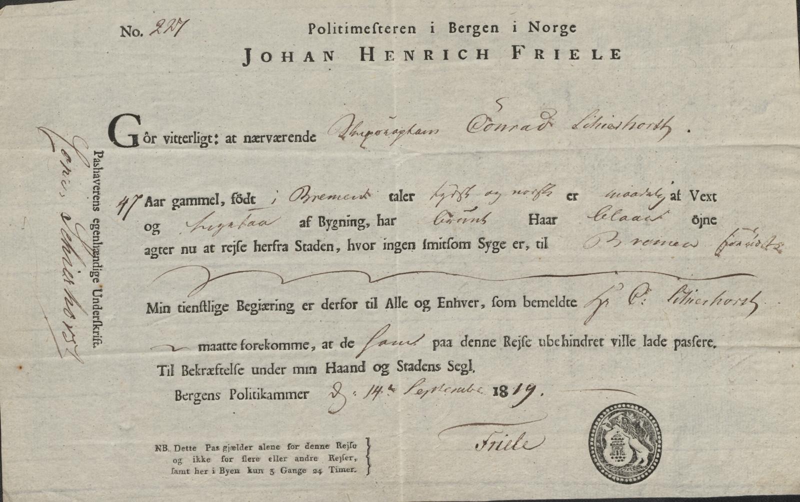 Pass fra Bergen 14.09.1819