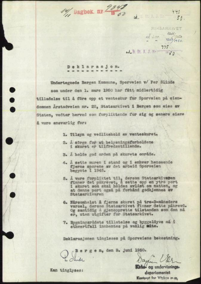 SAB, Byfogd og Byskriver i Bergen, 03/03Bc/L0034: Pantebok nr. A27-28, 1950-1950, Tingl.dato: 14.11.1950