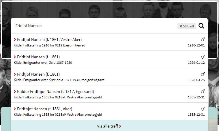 """Skjermbilde av søkeboks på forsiden utfylt med navnet """"Fridjof Nansen"""", med hurtigtreffliste vist under."""