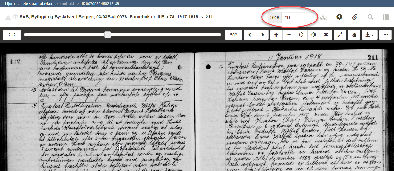 Eksempel på pantebokside (utsnitt).  SAB, Byfogd og Byskriver i Bergen, 03/03Ba/L0078: Pantebok nr. II.B.a.78, 1917-1918, s. 211.