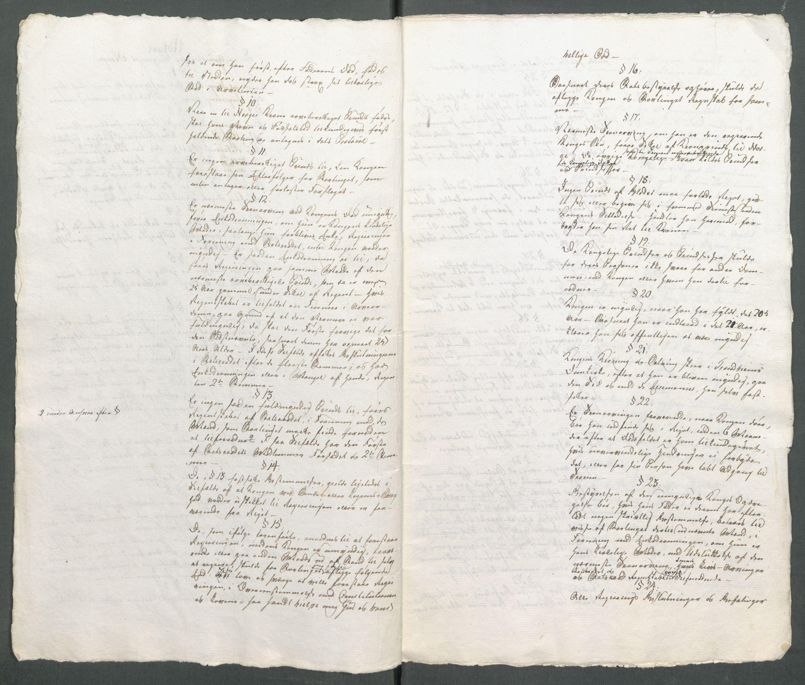 Utdrag fra konstitusjonskomiteens endelige grunnlovsutkast (RA, Forskjellige samlinger, Historisk-kronologisk samling, G/Ga/L0009A).
