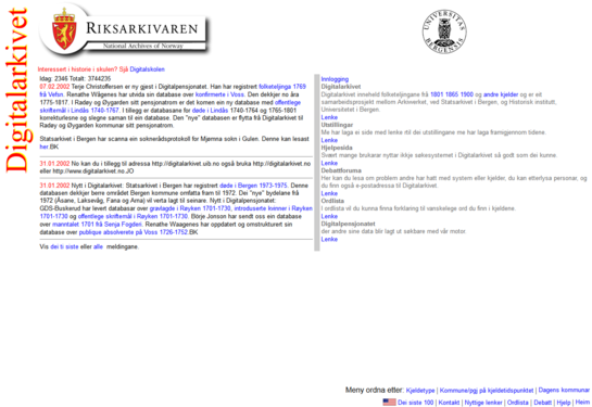 Framsida til Digitalarkivet anno 2002.