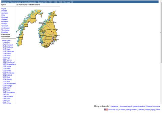 Norgeskart og fylkesinndeling