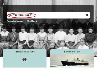 Skjermbilde fra forsiden til Digitalarkivet med søkeboks for enkelt søk, ikke utfylt