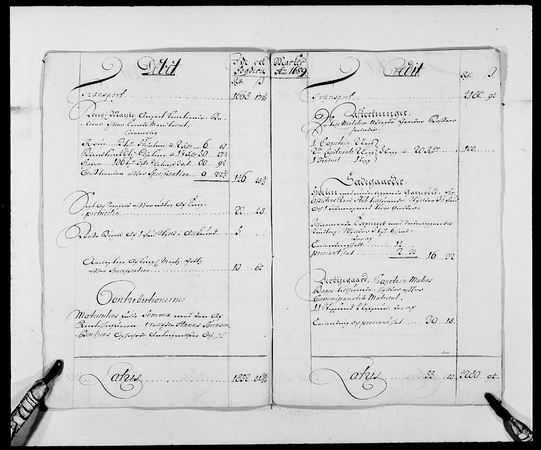 Viser håndskrevet oppslag i protokoll, med overskriftene Debit  og Kredit på hver sin side