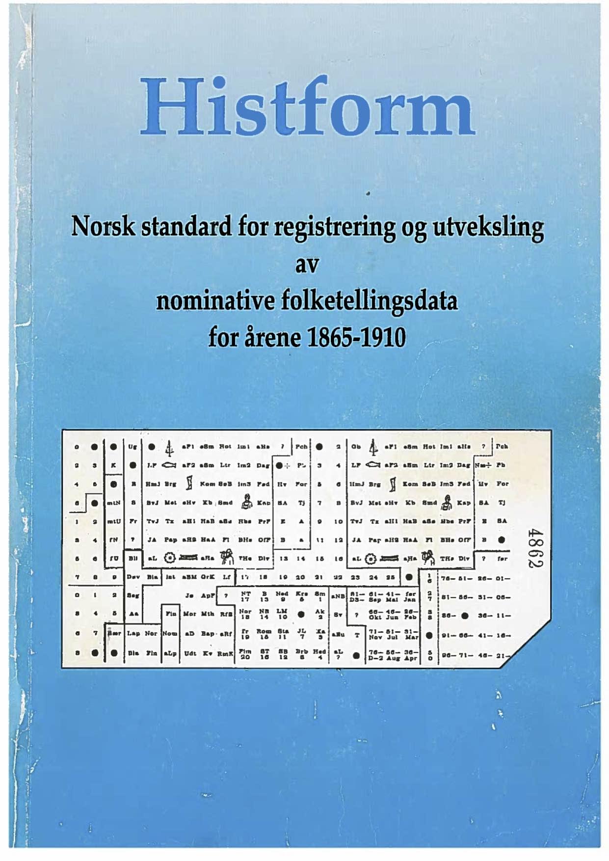 Forsiden til trykt utgave av Histform.