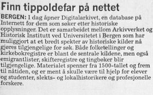 Notis fra avis med omtale av åpningen av Digitalarkivet