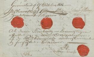 Utsnitt av side med røde lakksegl