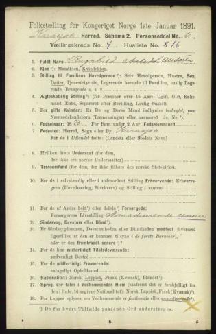 Personseddel fra 1891-tellingen for Karasjok